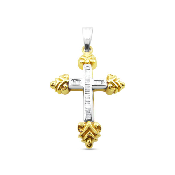 Cruz de oro bicolor con diamantes talla baguette