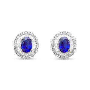 Pendientes oro blanco de zafiro con orla doble de diamantes talla typer y brillante