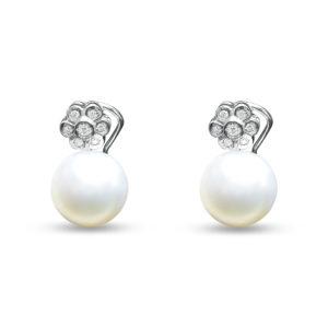 Pendientes de oro blanco, perlas y brillantes