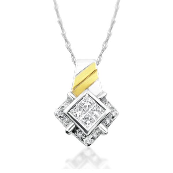 Colgante en oro blanco con bandas en oro amarillo y diamantes talla princesa en interior y talla brillante en exterior