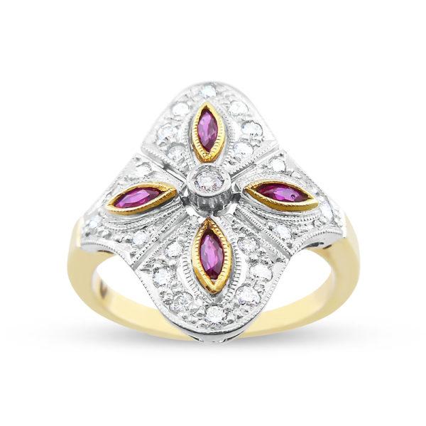 sortija oro bicolor rubies y diamantes