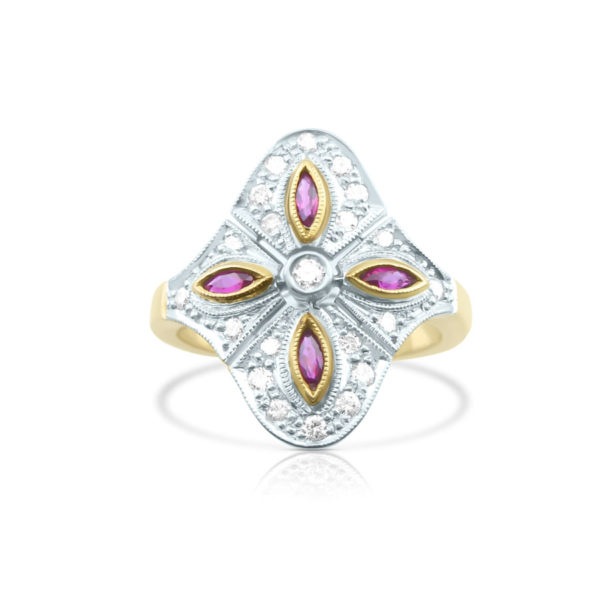 sortija oro bicolor diamantes y rubies